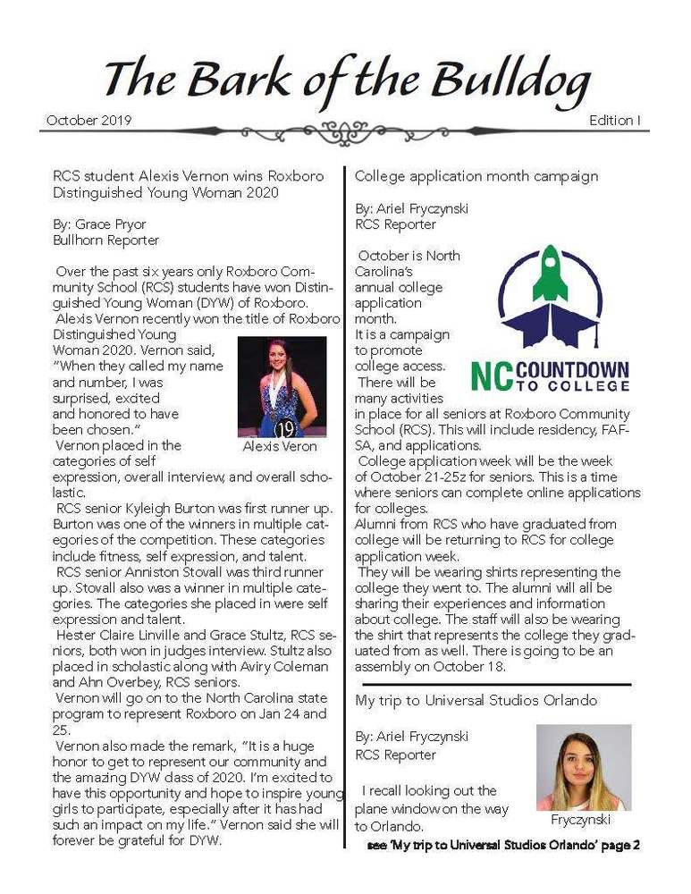 RCS Communications Class Produces 1st Newsletter